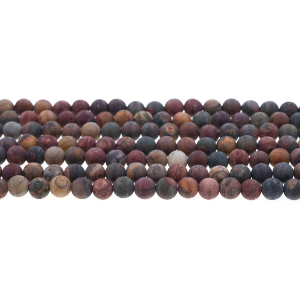 Red Picasso Jasper Round Frosted 6mm - Loose Beads