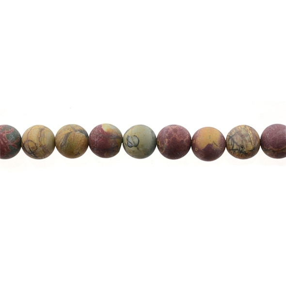 Red Picasso Jasper Round Frosted 10mm - Loose Beads