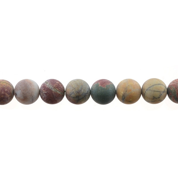 Red Picasso Jasper Round Frosted 12mm - Loose Beads