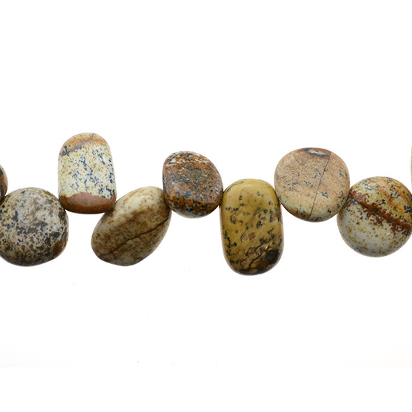 Picture Jasper Tumble Side Drilled 12mm x 9mm x 4mm - Loose Beads