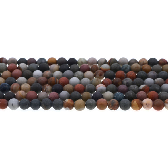 New Picasso Jasper Round Frosted 6mm - Loose Beads