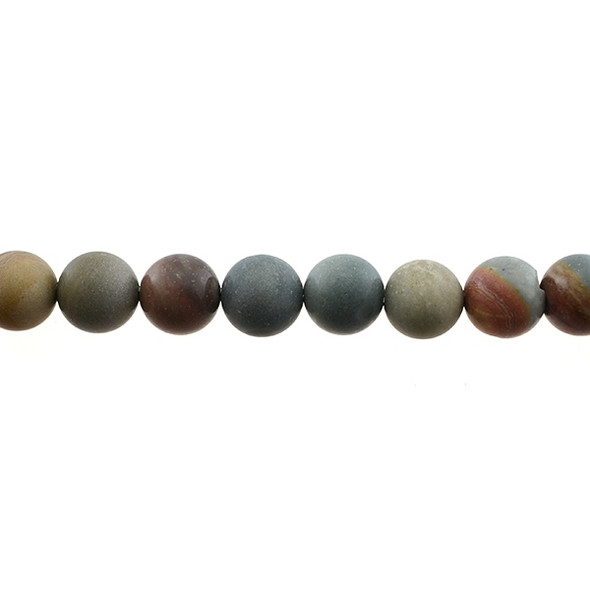 New Picasso Jasper Round Frosted 12mm - Loose Beads