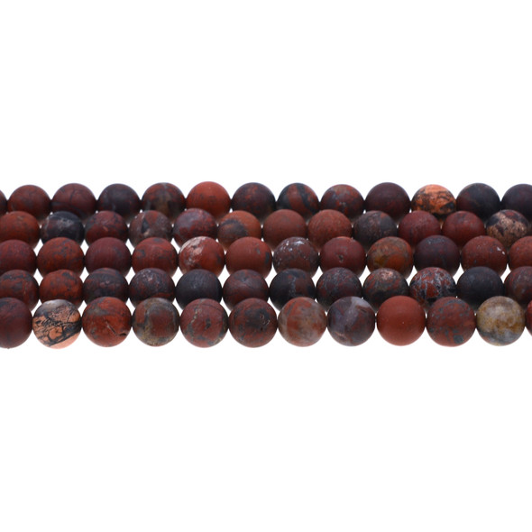 Poppy Jasper Round Frosted 8mm - Loose Beads