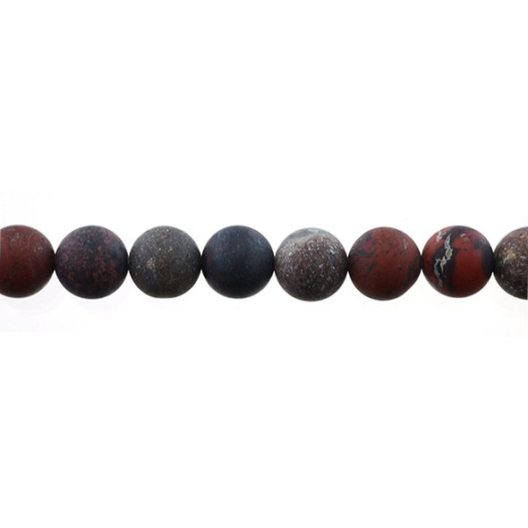 Poppy Jasper Round Frosted 12mm - Loose Beads