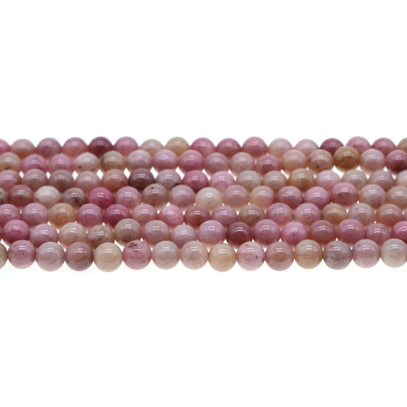 Pink Rhodonite Round 6mm - Loose Beads
