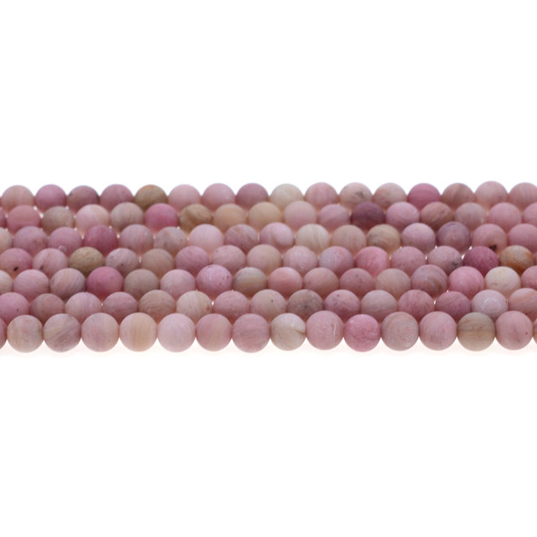 Pink Rhodonite Round Frosted 6mm - Loose Beads