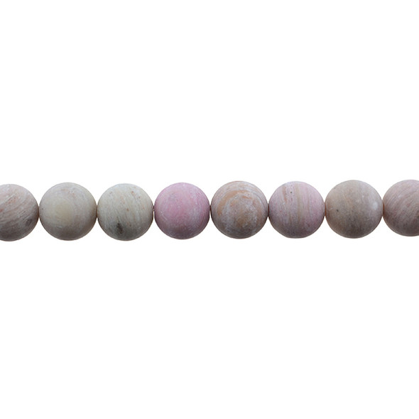 Pink Rhodonite Round Frosted 10mm - Loose Beads