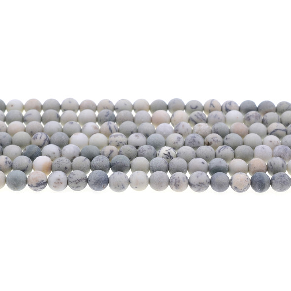 Pine Tree Dendritic Jasper Round Frosted 6mm - Loose Beads