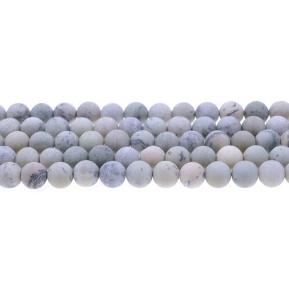 Pine Tree Dendritic Jasper Round Frosted 8mm - Loose Beads