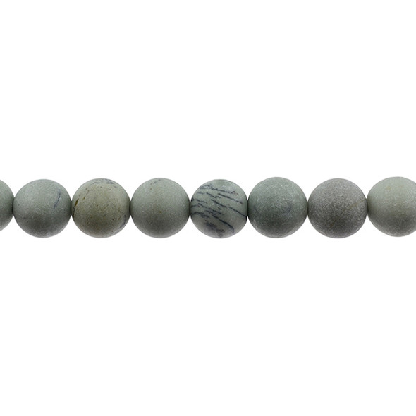 Pine Tree Dendritic Jasper Round Frosted 12mm - Loose Beads