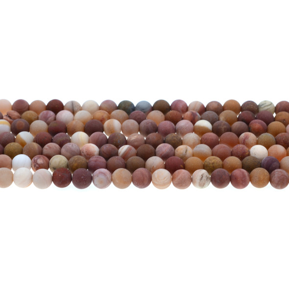 Petrified Fossil Wood Agate Round Frosted 6mm - Loose Beads