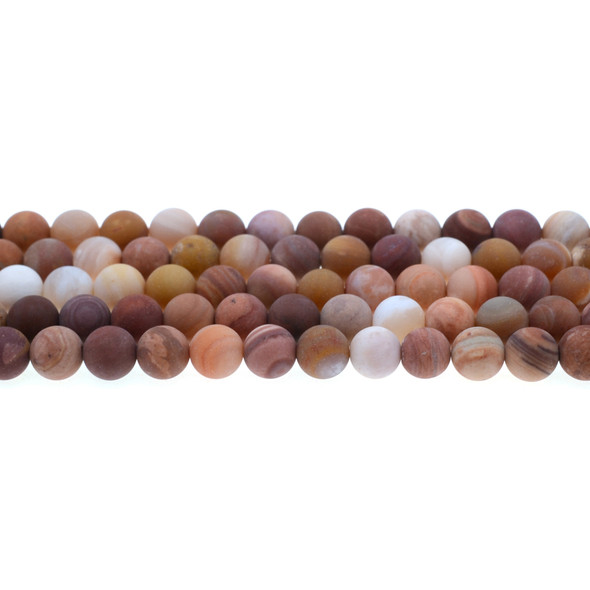 Petrified Fossil Wood Agate Round Frosted 8mm - Loose Beads