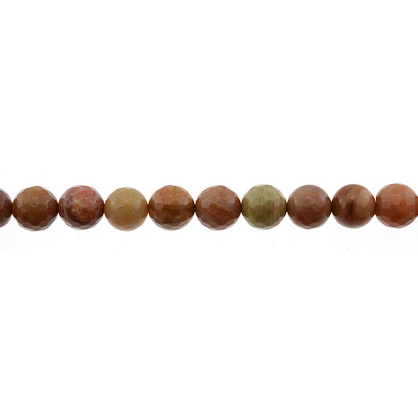 Petrified Fossil Wood Agate Round Faceted 10mm - Loose Beads
