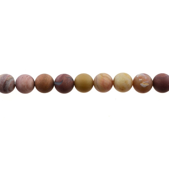 Petrified Fossil Wood Agate Round Frosted 10mm - Loose Beads