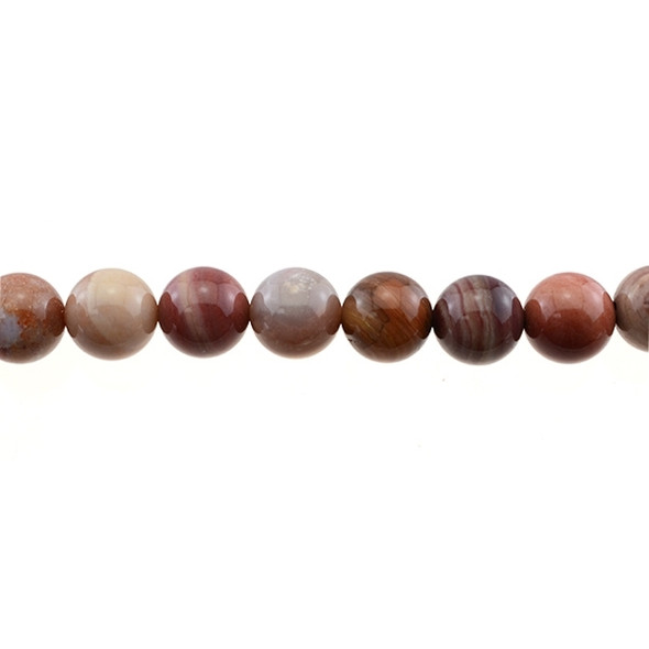 Petrified Fossil Wood Agate Round 12mm - Loose Beads
