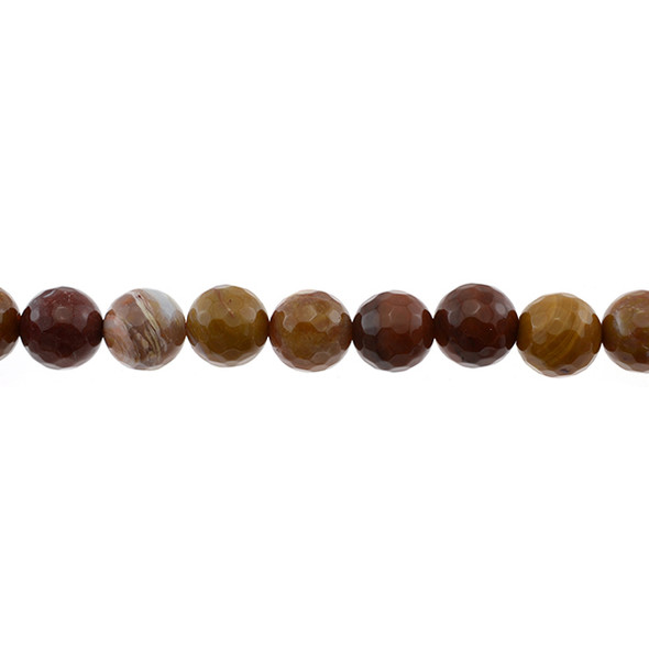 Petrified Fossil Wood Agate Round Faceted 12mm - Loose Beads