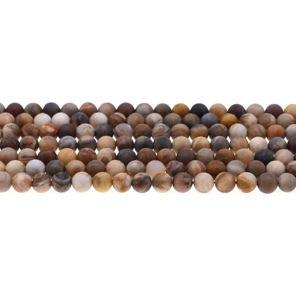Petrified Wood Jasper Round Frosted 6mm - Loose Beads