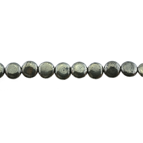 Pyrite Coin Puff 8mm x 8mm x 5mm - Loose Beads