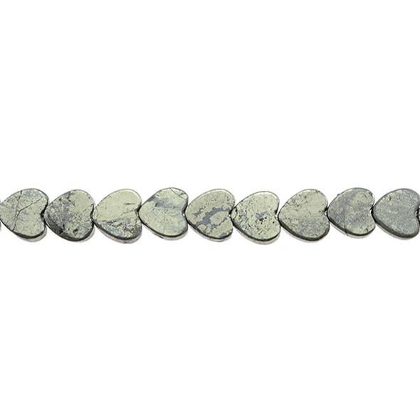 Pyrite Heart Flat 10mm x 10mm x 3mm - Loose Beads
