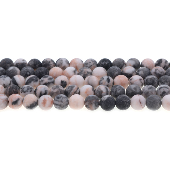 Pink Zebra Jasper Round Frosted 8mm - Loose Beads