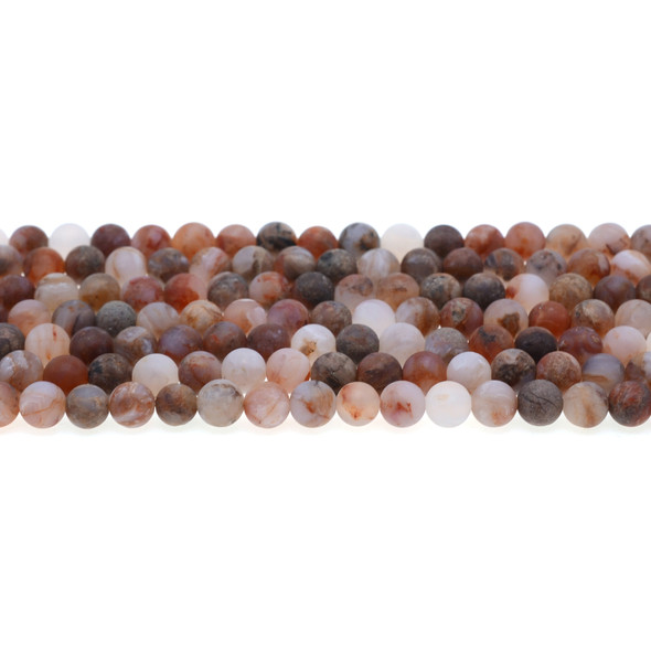 Red Blood Lace Agate Round Frosted 6mm - Loose Beads