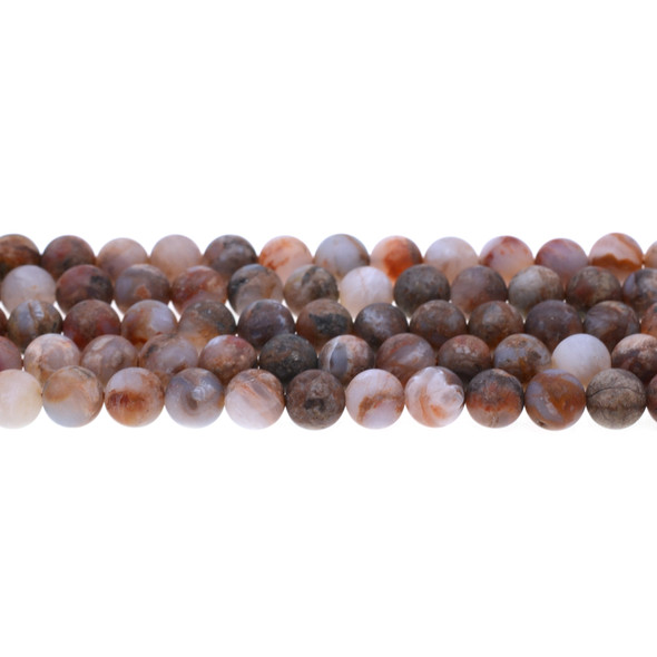 Red Blood Lace Agate Round Frosted 8mm - Loose Beads