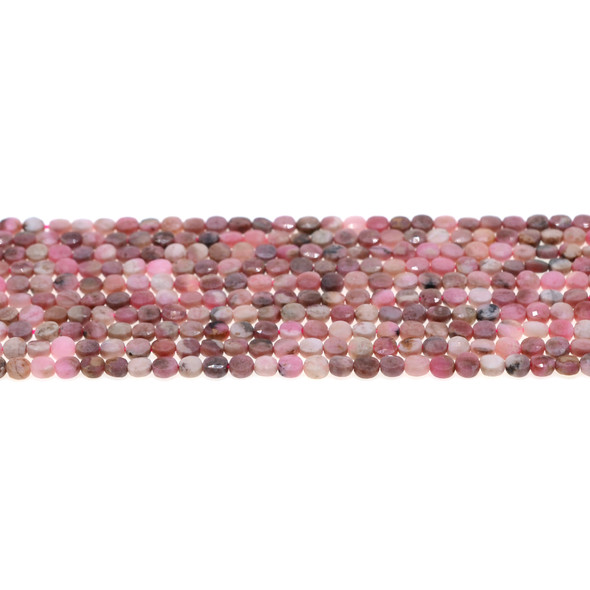 Argentina Rhodochrosite Coin Puff Faceted Diamond Cut 4mm x 4mm x 2mm - Loose Beads