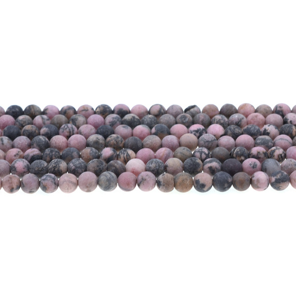 Rhodonite Round Frosted 6mm - Loose Beads