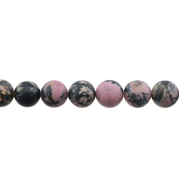 Rhodonite Round Frosted 12mm - Loose Beads