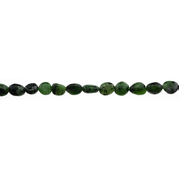 Ruby in Zoisite Anyolite Oval Puff Irregular 6mm x 8mm x 3mm - Loose Beads