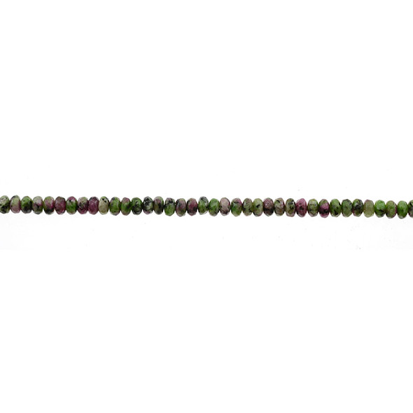 Ruby in Zoisite Anyolite Roundel Faceted 4mm x 4mm x 2mm - Loose Beads