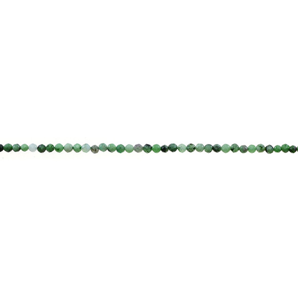 Ruby in Zoisite Anyolite Round Faceted Diamond Cut 2mm - Loose Beads