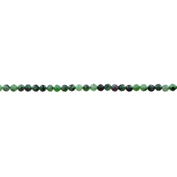 Ruby in Zoisite Anyolite Round Faceted Diamond Cut 3mm - Loose Beads