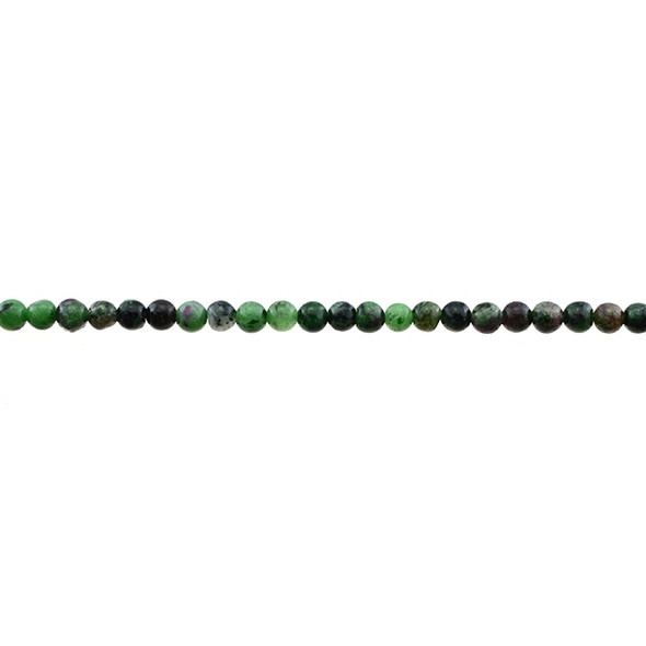 Ruby in Zoisite Anyolite Round 4mm - Loose Beads