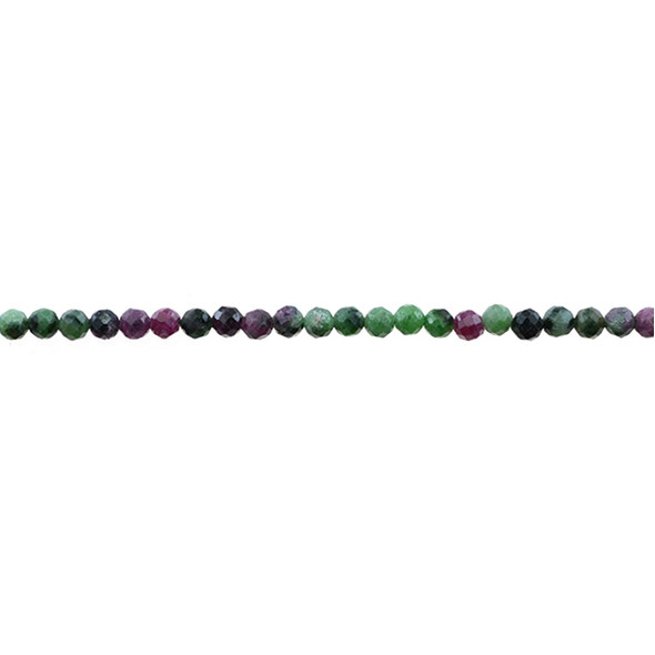 Ruby in Zoisite Anyolite Round Faceted Diamond Cut 4mm - Loose Beads