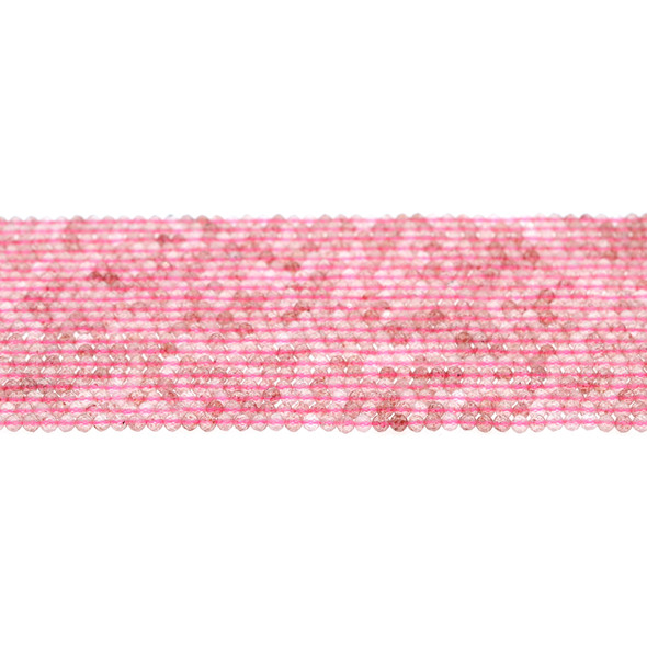 Natural Strawberry Quartz AA Round Faceted Diamond Cut 2mm - Loose Beads