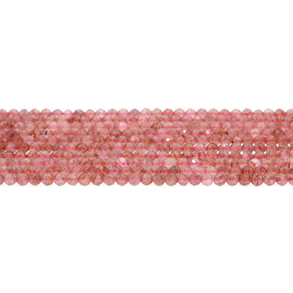 Natural Starwberry Quartz AA Round Faceted Diamond Cut 4mm - Loose Beads
