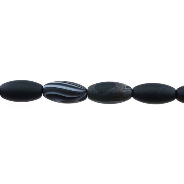 Black Sardonyx Oval Frosted 10mm x 10mm x 20mm - Loose Beads