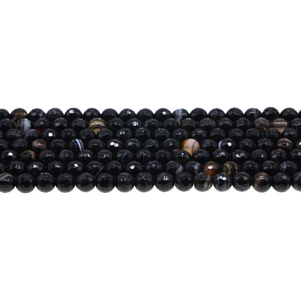 Black Sardonyx Round Faceted 6mm - Loose Beads