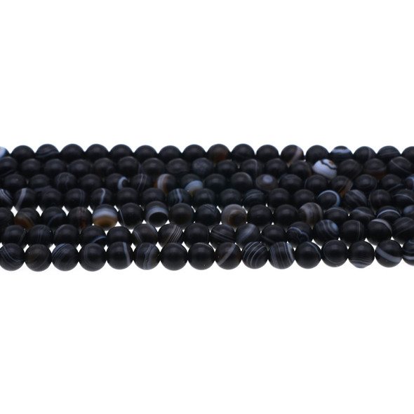 Black Sardonyx Round Frosted 6mm - Loose Beads