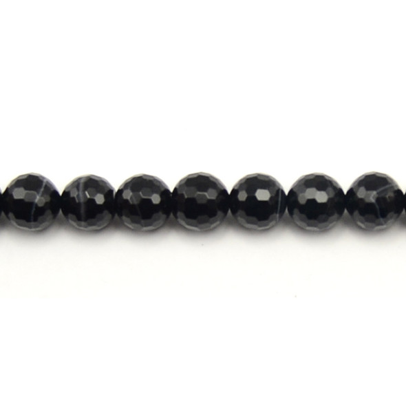 Black Sardonyx Round Faceted 10mm - Loose Beads