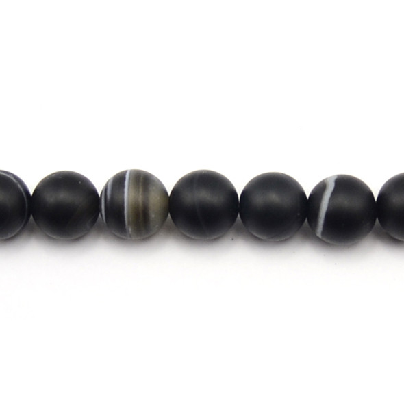 Black Sardonyx Round Frosted 12mm - Loose Beads