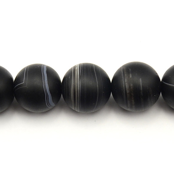 Black Sardonyx Round Frosted 20mm - Loose Beads