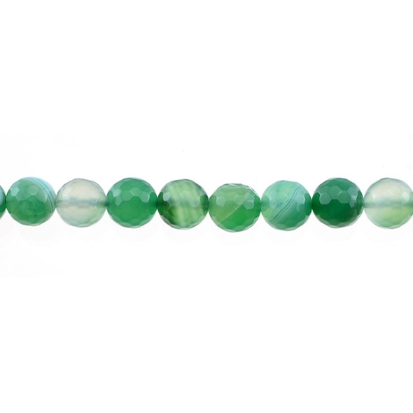 Green Sardonyx Round Faceted 10mm - Loose Beads