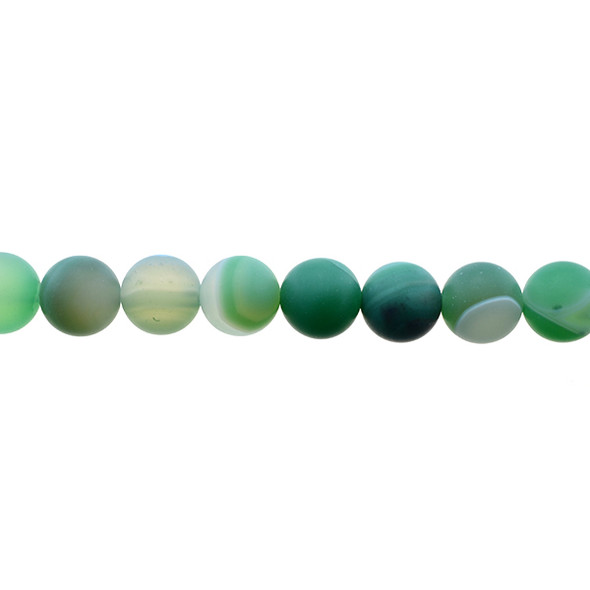 Green Sardonyx Round Frosted 10mm - Loose Beads