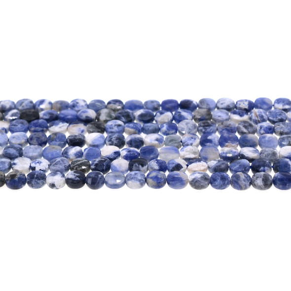 Sodalite Dual Tone Coin Puff Faceted Diamond Cut 6mm x 6mm x 3mm - Loose Beads