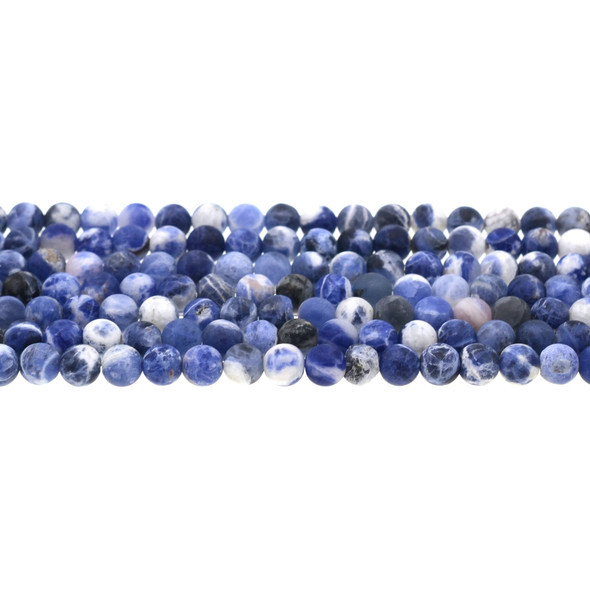 Sodalite Dual Tone Round Frosted 6mm - Loose Beads