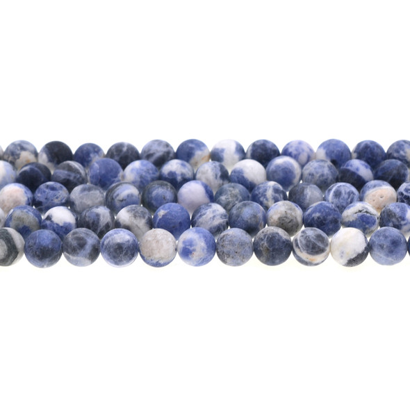 Sodalite Dual Tone Round Frosted 8mm - Loose Beads