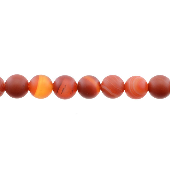Red Sardonyx Round Frosted 12mm - Loose Beads