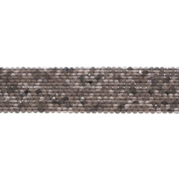 Smokey Quartz Round Faceted Diamond Cut 3mm - Loose Beads